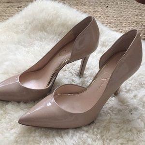 Jessica Simpson 7 nude patent  d'orsay heels